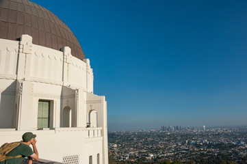 Overlooking the city of Los Angeles from  griffith park observatory