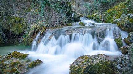 Waterfall, rocks and nature