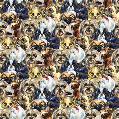Decorative dog breeds wild animal pattern in a watercolor style. Full name of the animal: dogs. Aquarelle wild animal for background, texture, wrapper pattern or tattoo.