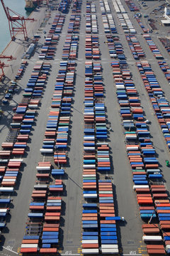 Shipping Containers To Be Loaded Onto Semi Trucks