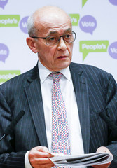 Lord Kerr speaks during a news conference organised by The People's Vote campaign in central London