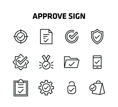 Approve Sign Line Icons