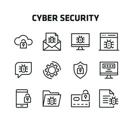 Cyber Security Thin Line Icons