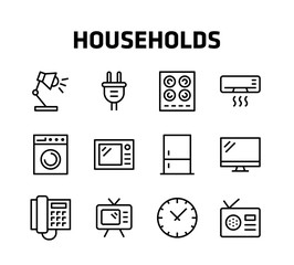 Households Thin Line Icons