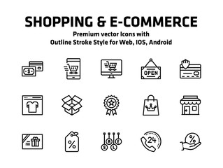 Shopping And E Commerce Thin Line Icons