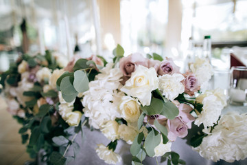 wedding bouquet with fresh flowers on the table
