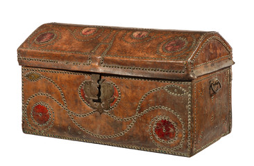 Trunk chest redish brown leather  covered brass studed old antique