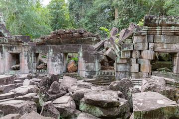 ancient remains of Preah Khan temple, Siem Reap, Cambodia, Asia