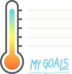 My goals printable with Thermometer sign, Vector Illustration