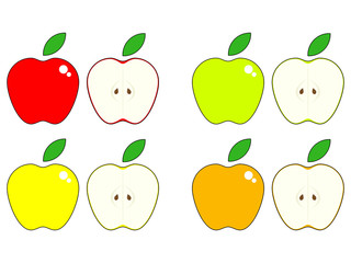 Vector set of apples, red, green, yellow and orange it's halves isolated on the white background