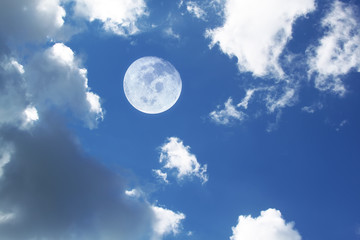 moon in white clouds sky background, Elements of this image furnished by NASA