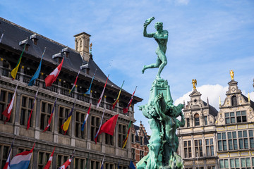 Printed roller blinds Antwerp Close up Barbo fountain and guild houses at Grote Markt square in Antwerp, Belgium