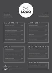 Modern minimalistic restaurant menu template