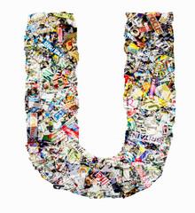newspaper letter u