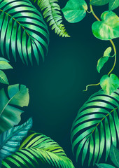 Watercolor background with illustrations of tropical flora