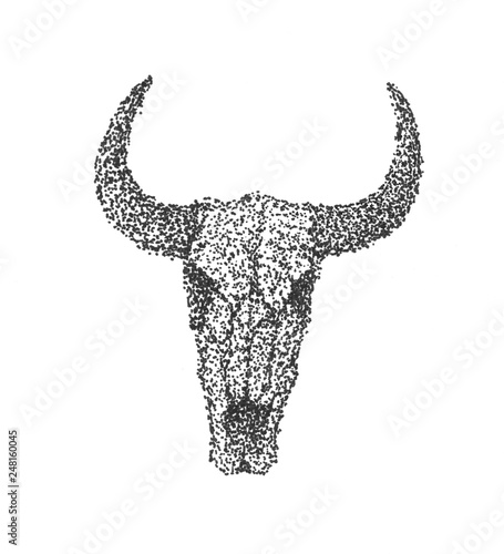 Cow Skull Hand Drawn Sketch Art Dotwork Or Engraving Style
