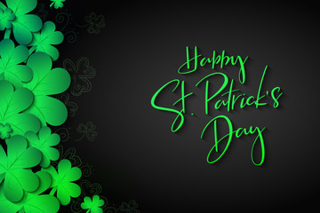 Vector illustration of saint patricks day greetings banner template with hand lettering label - happy st. patrick's day- with realistic clover leaves