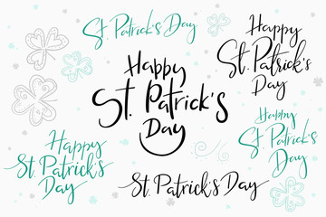 vector hand lettering happy saint patrick's day phrases set with doodle clower leaves