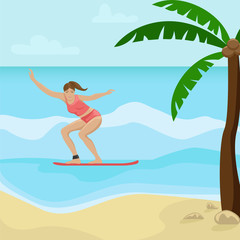 Beach landscape with palm trees. Girl surfing on the waves. Flat vector illustration.