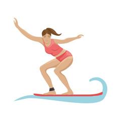 Summer activity. Girl surfing on the waves. Flat vector illustration.