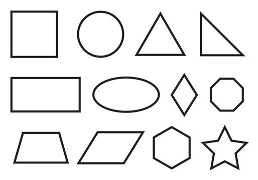 Simple geometry shapes set. Geometric primitives icons.