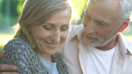Romantic date, happy senior couple embracing, dating website, love and care