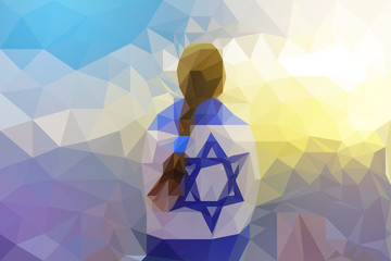 Patriot jewish girl standing with the flag of Israel wrapped around her. Newcomer life and immigration to Israel concept. Polygonal illustration