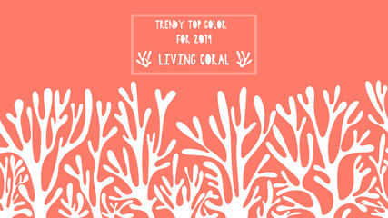 Seamless pattern background in living coral tones. Trendy top color for 2019-vector illustration.