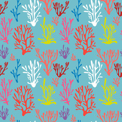 Vector seamless pattern background in trendy color of 2019. Living coral- vector illustration.
