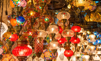 Multicolored authentic lamps hanging at the Grand Bazaar in Istanbul, Turkey