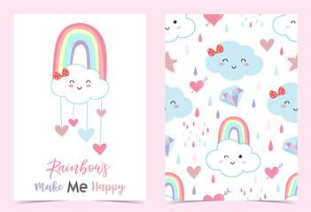 Colorful hand drawn cute card with rainbow,heart,cloud,rain,diamond.Rainbow make me happy