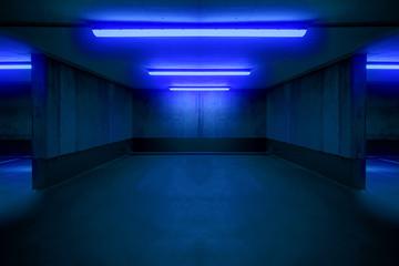 illuminated parking lot / underground car parking spot - Fototapete