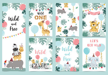 Green birthday card with tiger,elephant, giraffe, zebra,cake,leaf,rainbow and balloon