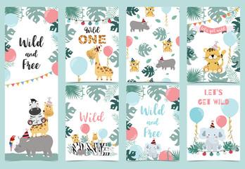 Green birthday card with tiger,elephant, giraffe, zebra,cake,leaf,rainbow and balloon