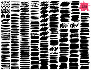 Big set of brush strokes, Black ink grunge brush strokes. Vector illustration.