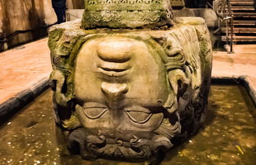 The Column with inverted Medusa head base in Basilica Cistern. Istanbul. Turkey