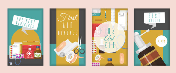 Medical advertisement for pharmacy vector illustration. Set of cards and banners with medical tools and pills. The best medicines. First aid kit and bandage. Best seller.