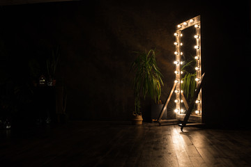 Toilet mirror stands on a wooden floor with light bulbs for lighting Wall mural