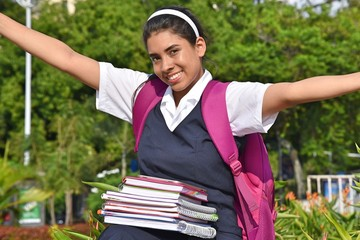 Catholic Colombian Female Student And Freedom Wearing Uniform With Books