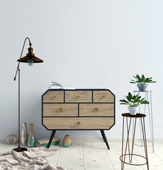 Modern interior with dresser. Wall mock up. 3d illustration.