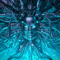 Mind of the machine / 3D illustration of robotic science fiction female artificial intelligence hardwired to computer core