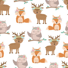 Seamless boho pattern. Vector image on national American motifs. Illustration of a little fox, deer and owl with feathers and flowers. For print, background, textile, holiday, children, baby, birthday