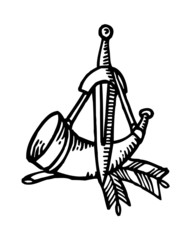 Horn and dagger and branch, symbol of hunters, pen drawing black and white