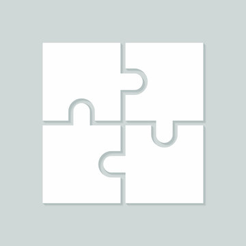 Four blank puzzle pieces. Puzzle for web, information or presentation design, infographics. White puzzle on gray background. Vector illustration