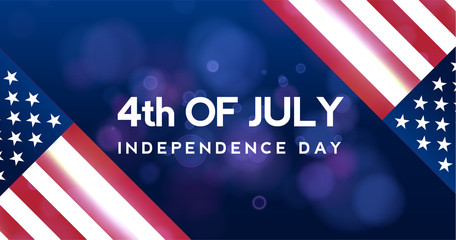 Creative Invitation Flyer decorated American Independence Day Party celebration. 4th of July background, horizontal holiday vector pattern with stars of United States flag colors blue, red and white