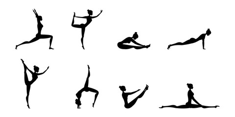 Silhouettes of women in yoga poses,Isolated On White Background,