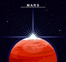 Image of the planet Mars. The fourth planet of the solar system. Science and education. Flat style. Cartoon.