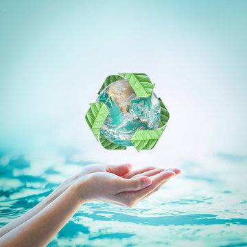 Waste water recycle, eco friendly and saving biological sustainability concept: Elements of this image furnished by NASA