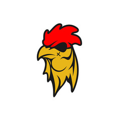 Rooster Logo Designs Concept, Chicken Head Mascot Logo Designs