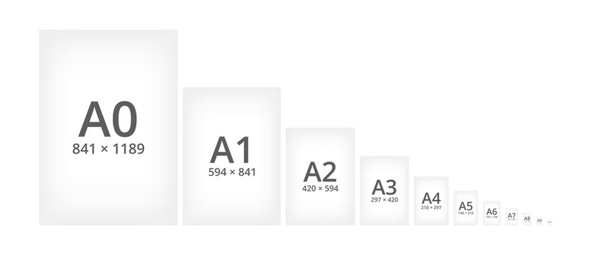 Paper size standard formats of A series. Sizes of paper sheets from A0 to A10. Comparison of papers isolated on a white background. Vector scheme or illustration.